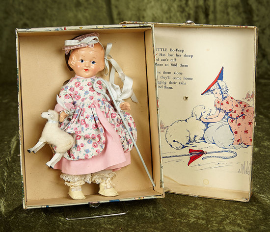 """8 1/2"""" American composition """"Little Bo Peep"""" with original costume and custom box. $300/400"""