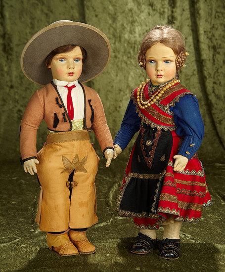 Pair, 1930s Felt studio dolls in wonderful original costumes. $800/1200