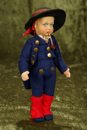 """11"""" Italian felt character boy by Lenci with original costume and pipe. $300/500"""