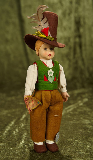 """8"""" Italian felt character boy in Tyrolean costume by Lenci with original label. $400/500"""