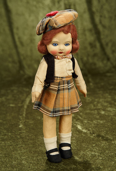 """12"""" English cloth glass-eyed doll by Norah Wellings in original Scottish costume. $200/300"""