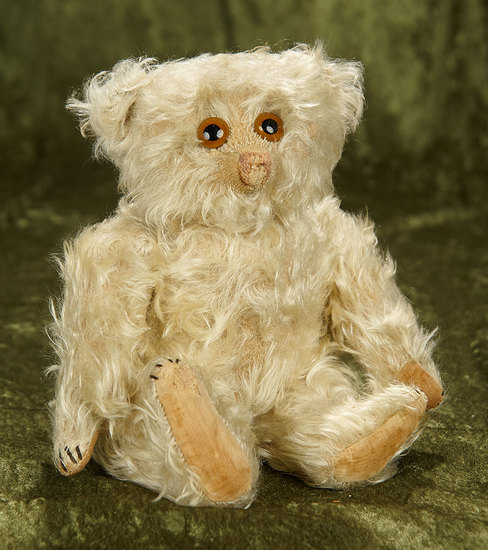 """12"""" German white curly mohair teddy Jopi with musical torso. $400/600"""