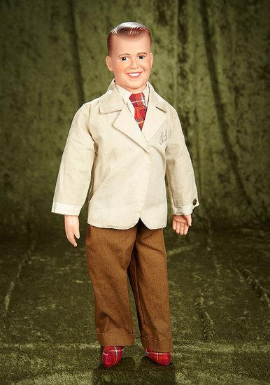 "21"" American vinyl portrait doll of Dick Clark in original monogrammed jacket. $200/300"