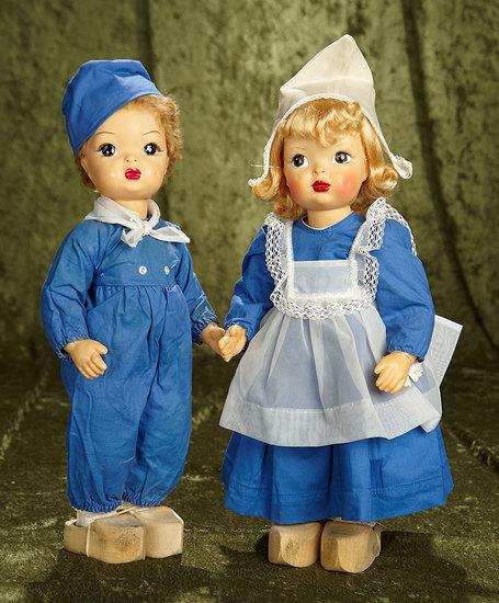 """Pair, 16"""" American hard plastic Terri and Jerri Lee in original matching Dutch costumes. $400/600"""