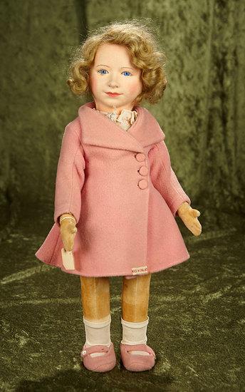 "18"" English felt portrait of Princess Elizabeth by Chad Valley, original label and costume. $400/600"