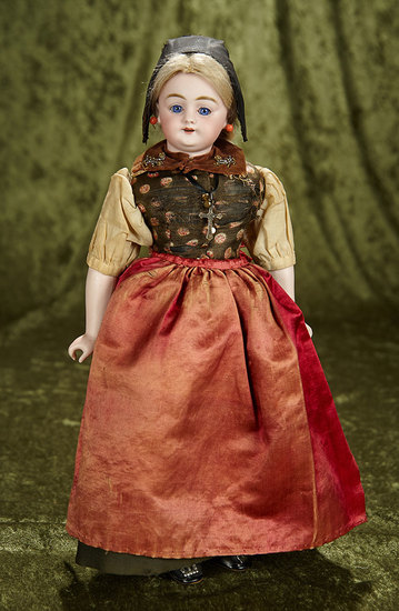 "15"" German bisque doll, 1009, by Simon & Halbig in original folklore costume. $500/700"