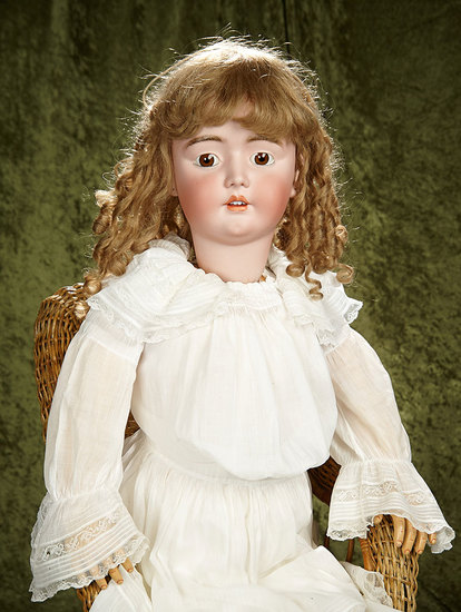 "42"" German bisque child by Heinrich Handwerck, original signed body, antique costume. $800/1100"
