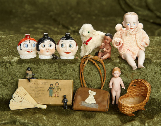 "5"" German all-bisque baby and a collection of various toys, dolls. $300/500"