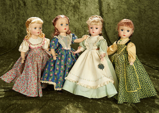 "Set, 14"" American hard plastic ""Little Women"" dolls in original costumes, 1950s. $800/1000"