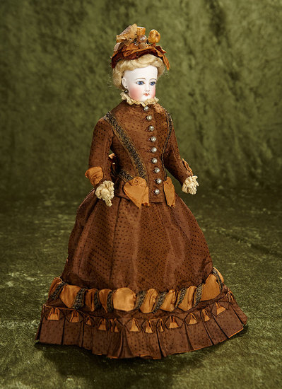 "14"" French bisque poupee by Gaultier in lovely walking suit and bonnet. $1200/1500"