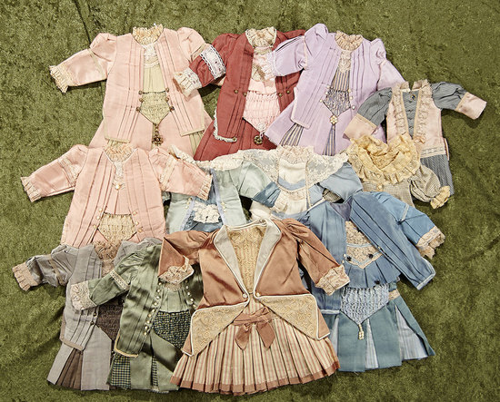 "Twelve silk dresses in the French bebe style for 14""-16"" bebes. $200/400"
