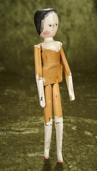 "12"" Grodnertal wooden doll with original finish. $200/300"