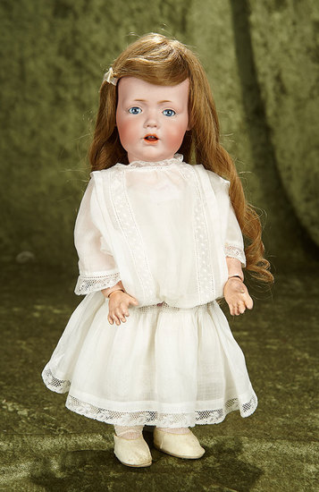 "15"" German bisque toddler ""Hilda"" by Kestner with toddler body, antique costume. $1200/1500"