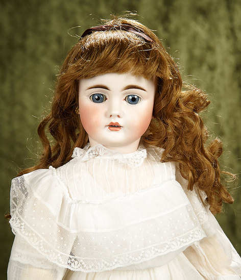 """22"""" German bisque child doll, 224, by Bahr and Proschild, lovely costume. $400/600"""