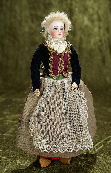 "13"" French Bisque Poupee in Original Folklore Costume. $1100/1400"