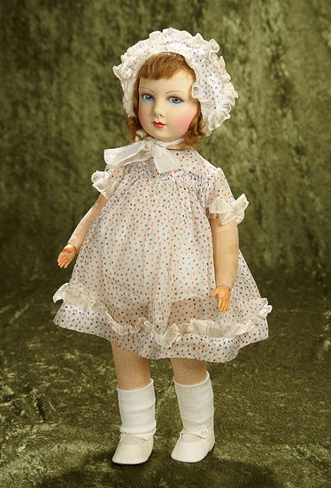 """20"""" French cloth child doll by Reynal in original costume in near mint condition. $800/1100"""