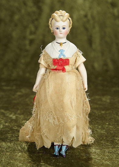 """10"""" Petite German bisque lady doll with glass eyes, fancy hair and bodice, original body. $600/800"""