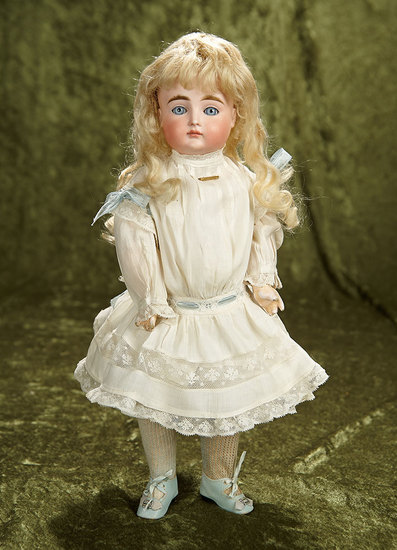 """15"""" German bisque closed mouth child marked XI by Kestner, original body. $1600/2100"""