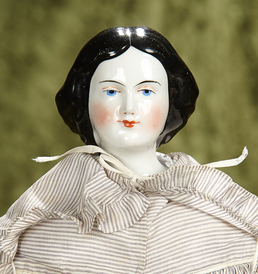 """19"""" German porcelain lady doll with rolled chignon, antique body and costume. $600/900"""