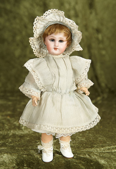 """10"""" French bisque bebe """"Dep"""" with red stamp Tete Jumeau, size 0, original dress. $400/500"""