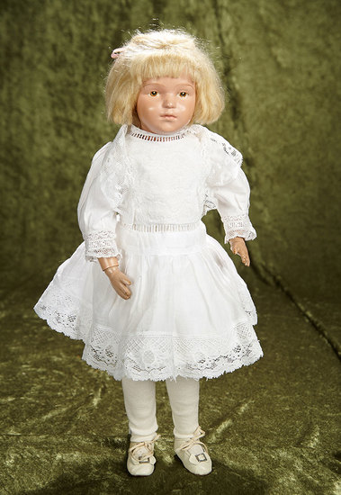"""19"""" American carved wooden doll by Schoenhut with intaglio brown eyes. $600/800"""