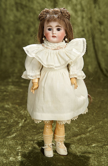 """13"""" German bisque child, 224, by Bahr and Proschild with beautiful gentle expression. $400/600"""