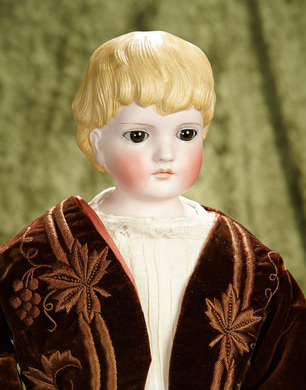 "23"" German bisque sculpted hair doll, model 131, with glass eyes by Kling. $500/750"