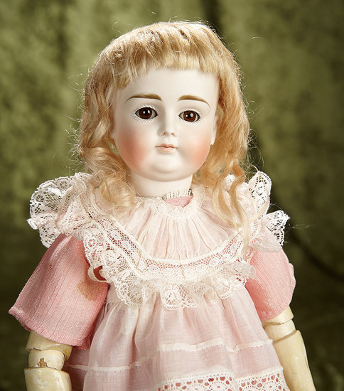 "15"" Beautiful German bisque closed mouth doll by Kestner with early body. $1100/1500"