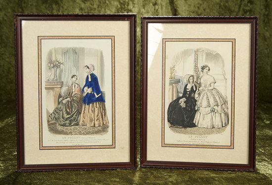 "14"" x 11"" Pair of early 1800s fashion engravings in frames. $300/400"