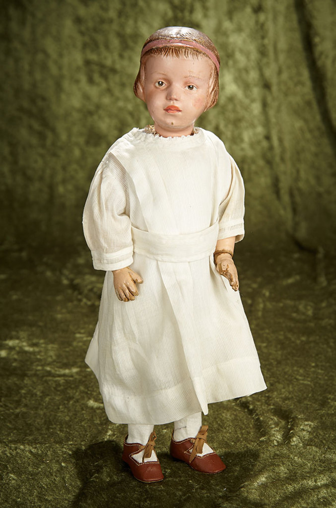 """16"""" American wooden doll with carved bobbed hair and pink hair band by Schoenhut. $700/1100"""