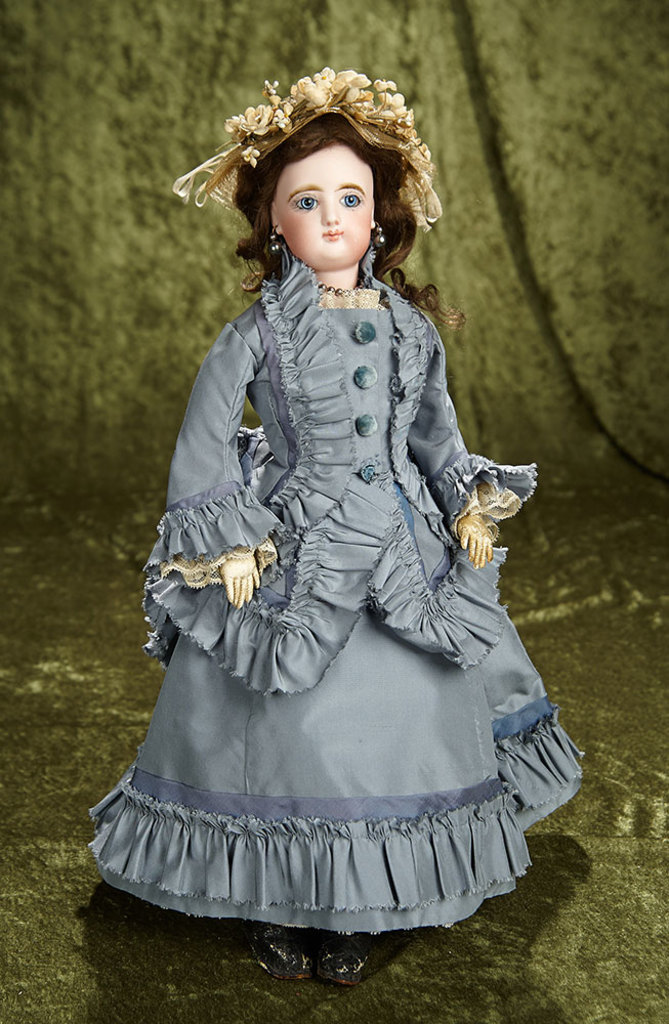 """17"""" French bisque poupee by Gaultier, large beautiful eyes and Maison Simonne label. $1400/1800"""