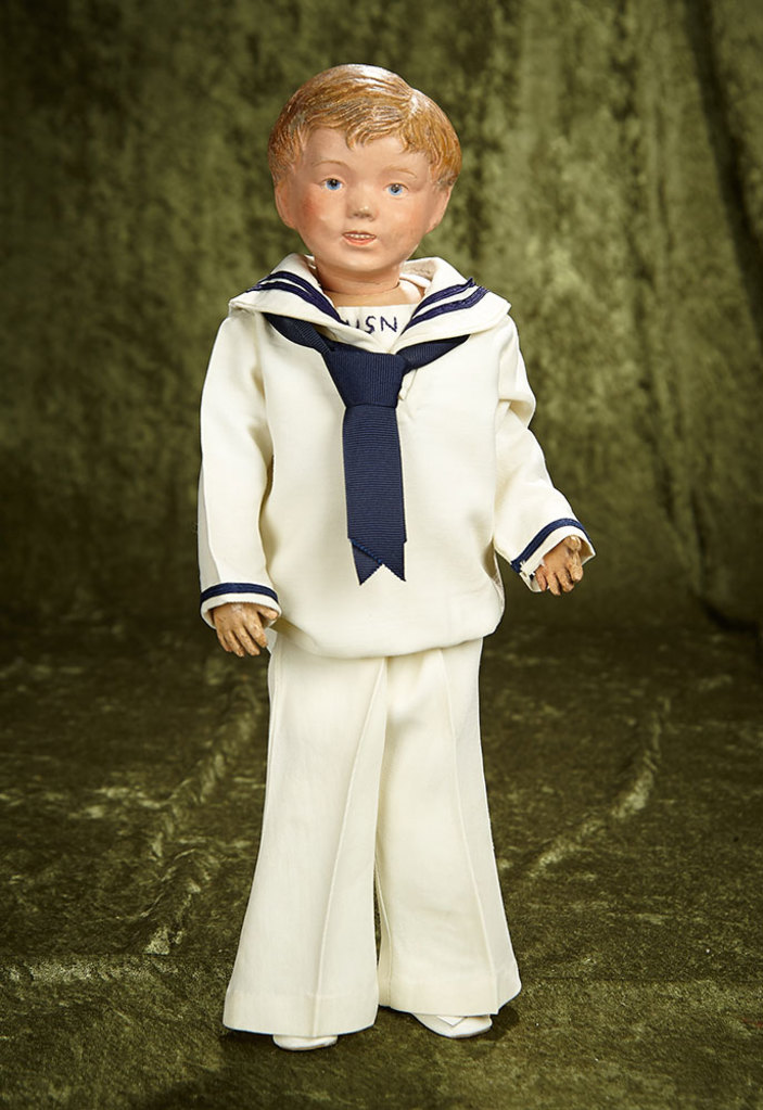 """16"""" Rare American  wooden doll by Schoenhut, smiling expression, tousled carved hair. $800/1200"""