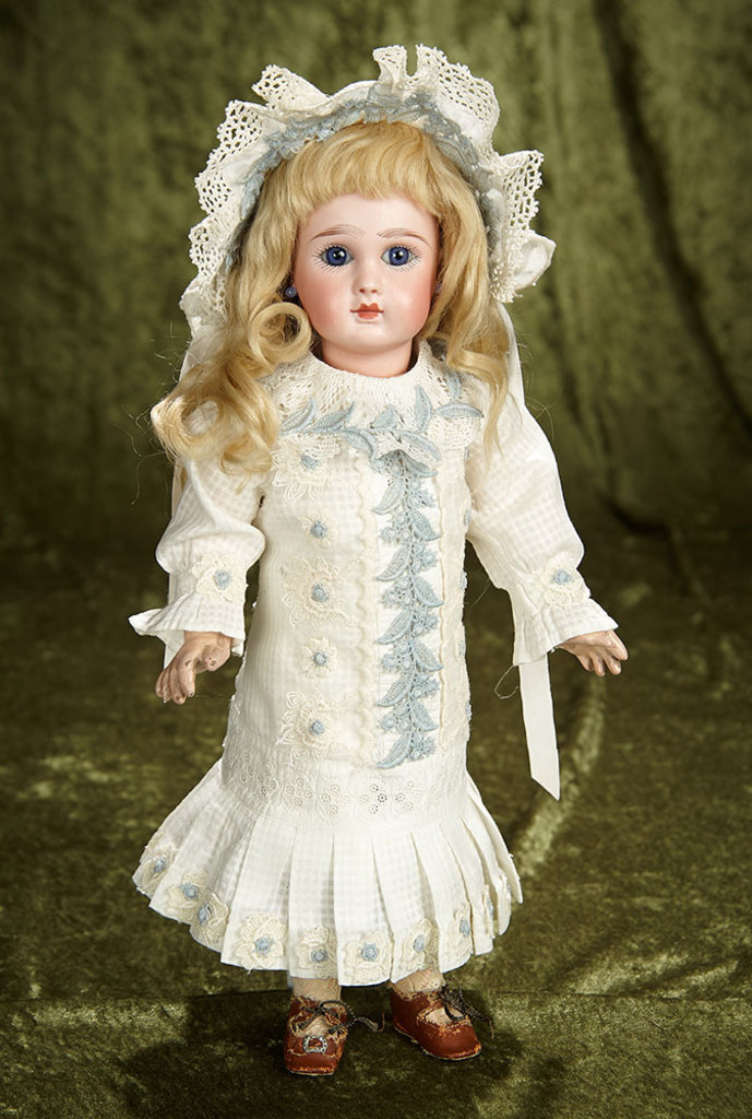 "14"" French bisque bebe by Jules Steiner, Figure A, with original signed body. $2200/2800"