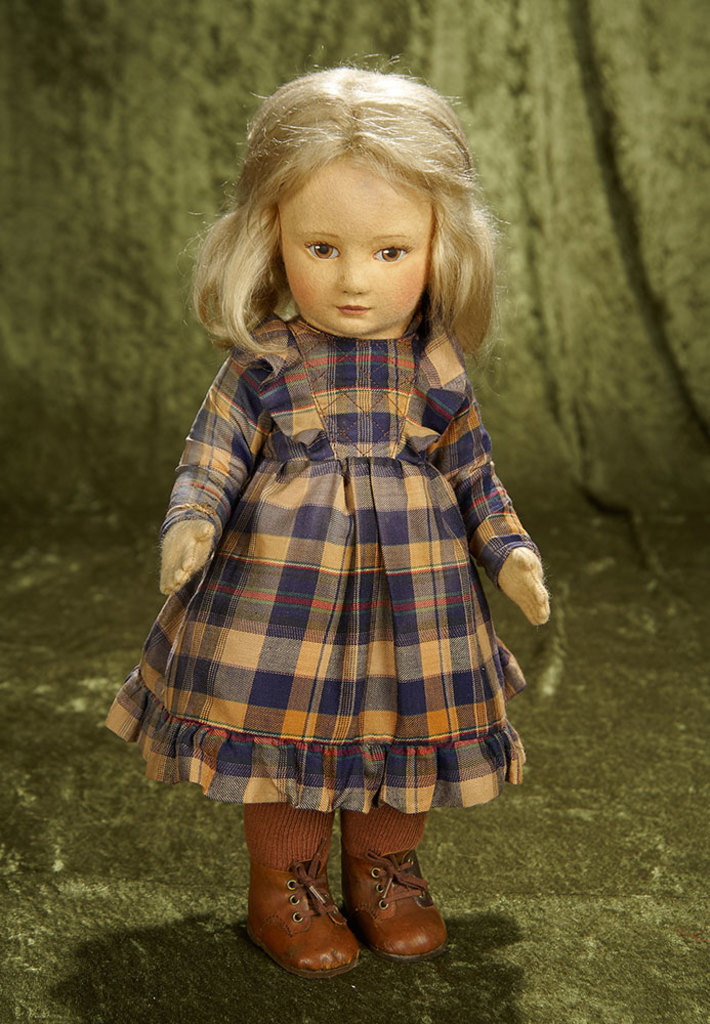 "16"" American felt character ""Hannah"" by R. John Wright with original costume, labels. $500/750"