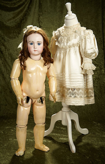"""Gorgeous 33"""" French bisque Bebe Triste by Emile Jumeau, Size 15 with silk costume.$5000/8000"""