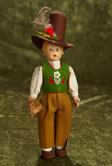 """8"""" Italian felt character boy in Tyrolean costume by Lenci with original label. $250/350"""