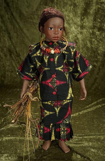 """22"""" British bisque artist doll """"Kumba"""" by Phillip Heath. $800/1100"""