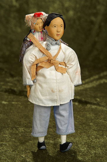 """11"""" Chinese wooden doll Amah with child, original costumes, from Door of Hope. $500/750"""