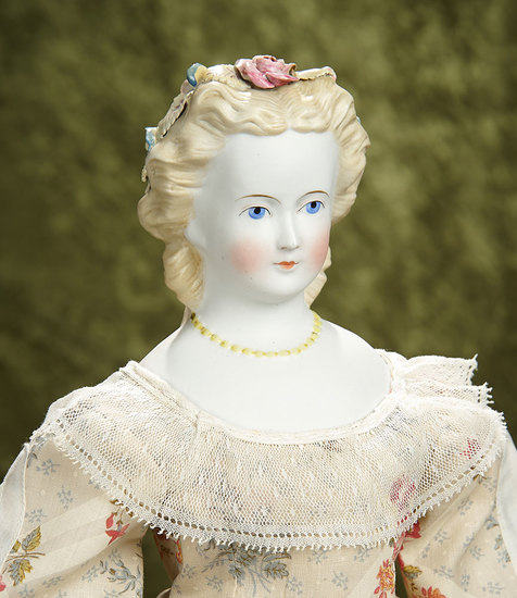 """21"""" German bisque lady doll with sculpted hair, Dresden flowers, yellow bead necklace. $300/600"""