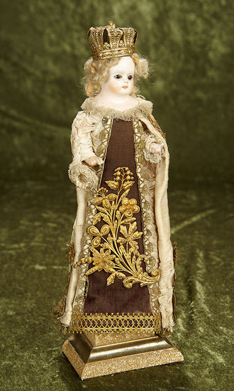 """15"""" German Paper Mache Doll, Elaborate Ceremonial Costume, Flawless Complexion $450/600"""