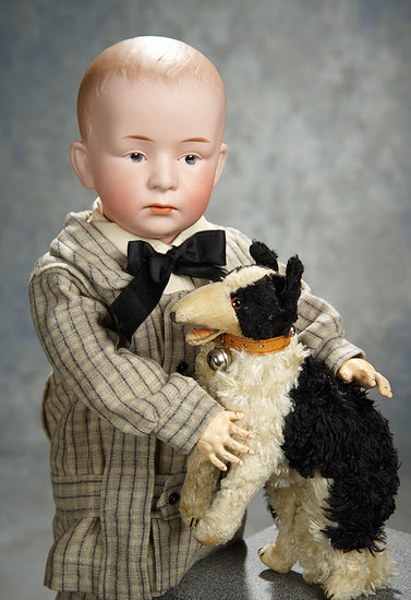 German Bisque Pouting Character, Model 7602, Gebruder Heubach for Gimbel's, Toy Dog 900/1200