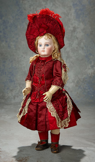 Beautiful French Bisque Bebe E.J. by Jumeau in Original Couturier Costume 7500/9500