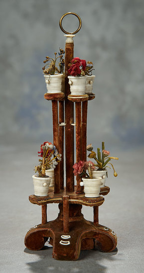 Rare Miniature 19th Century Plant Stand with Carved Bone Jars 500/800