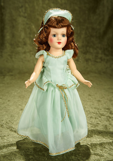 "14"" Hard plastic doll by Mary Hoyer in original aqua chiffon gown. $300/500"