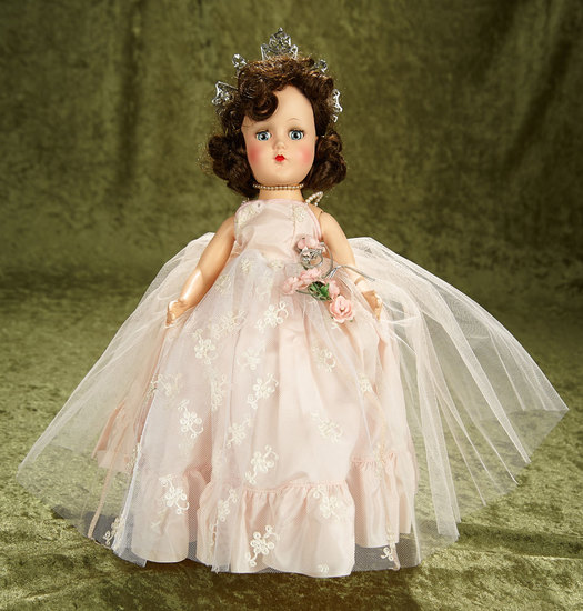"15"" Hard plastic doll in original ball-gown and tiara. $300/400"