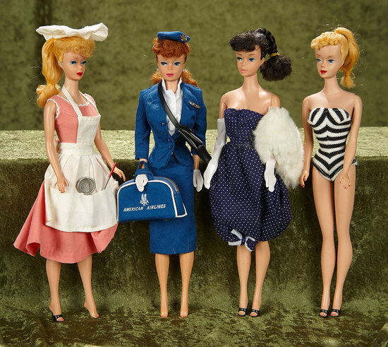 "Four 11"" early ponytail Barbies by Mattel in early costumes. $500/700"