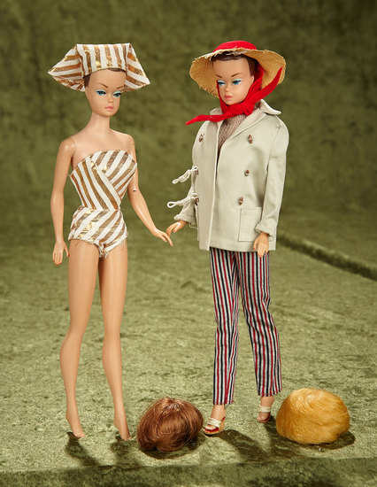"Two 11"" Fashion Queen Barbies in Early Costumes. $300/500"
