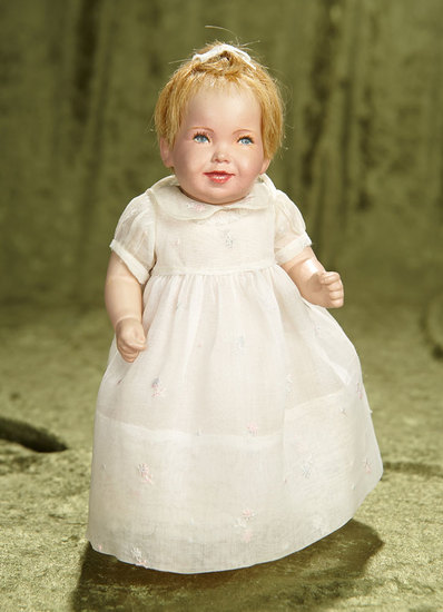 "10"" American artist studio doll depicting laughing baby by Dewees Cochran. $400/500"