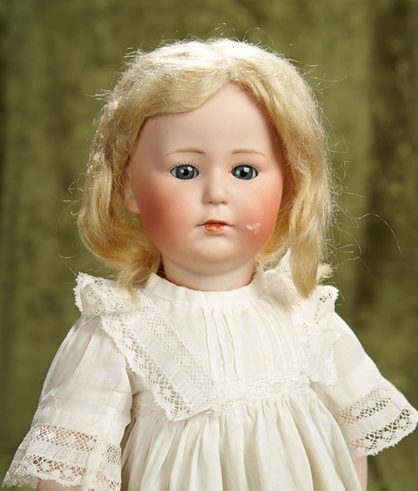 "15"" German bisque glass-eyed character, 8420, Gebruder Heubach, original toddler body. $600/900"