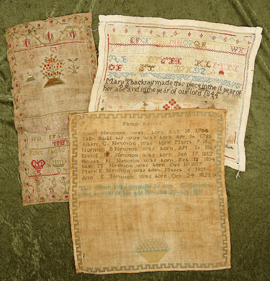 Three early American samplers. $400/500